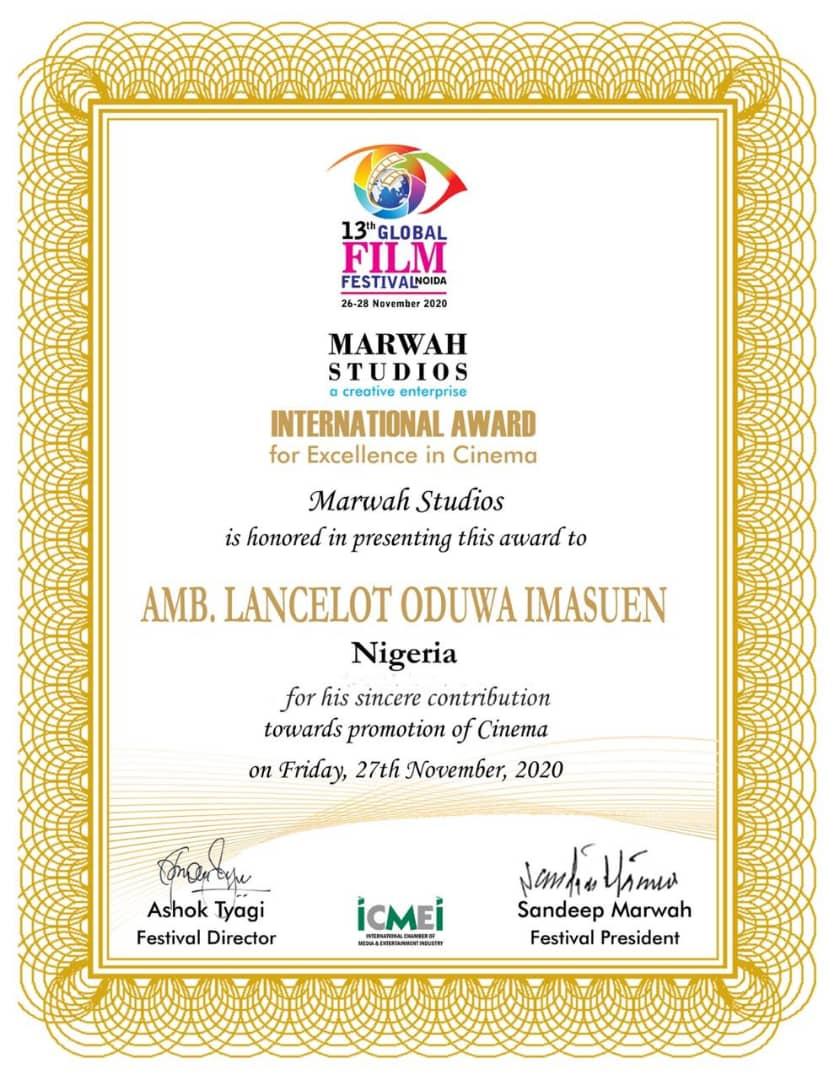 Bollywood Honors Lancelot Imasuen As The Most Impactful Filmmaker In Africa