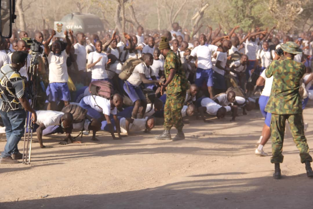 Some of the recruits jubilating shortly after the Chief of Army Staff Lt Gen TY Buratai address at the Nigerian Army Training Area Falgore Forest on Monday 11 January 2021