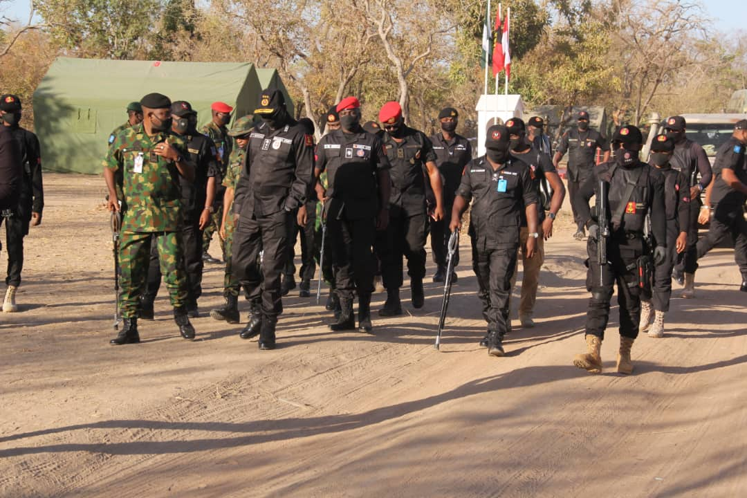 Lt Gen TY Buratai going round the Nigerian Army Training Area Falgore when he visited the area to assess the final screening exercise for 80 regular recruit intake on the 11th of January 2021